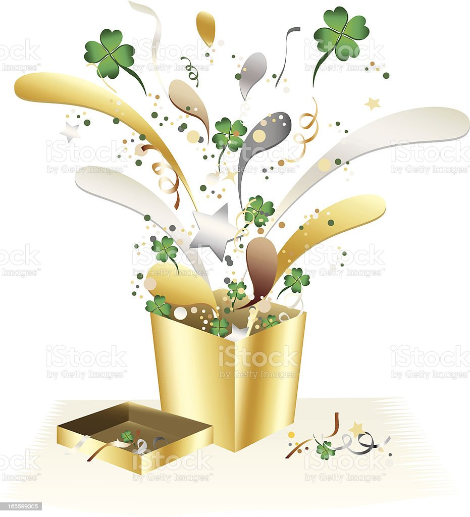 St. Patrick's vier-Kleeblatt Konfetti-Feier-Geschenk-Box und Design Lizenzfreies vektor illustration
