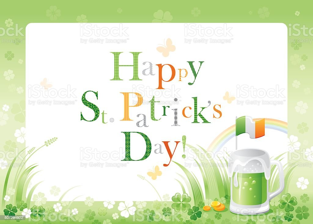 St. Patrick's frame with green beer and Irish flag vector art illustration