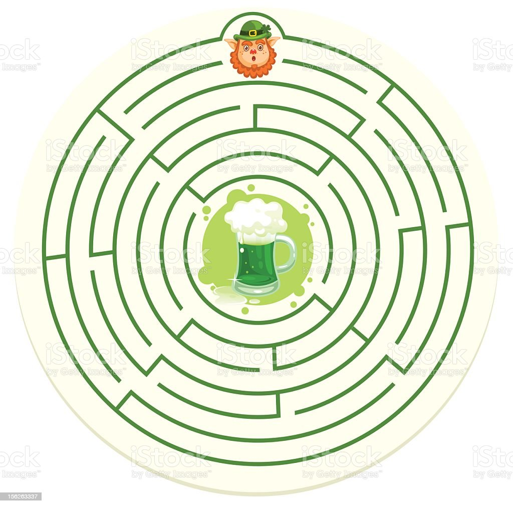St. Patrick's Maze Coaster royalty-free stock photo