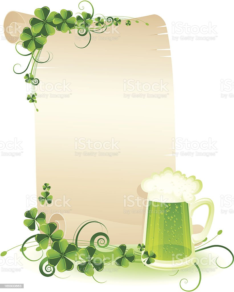 St. Patrick's scroll with green beer royalty-free stock vector art
