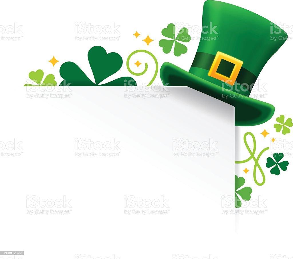 St. Patrick's Shamrock Hat Corner vector art illustration
