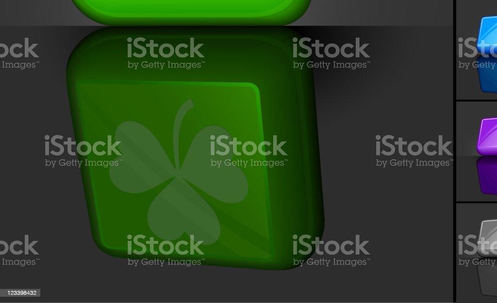 St Patric's Day clover 3D button design vector art illustration