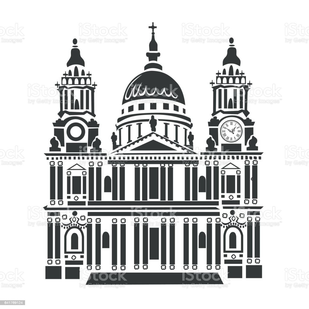 St Paul Cathedral vector art illustration