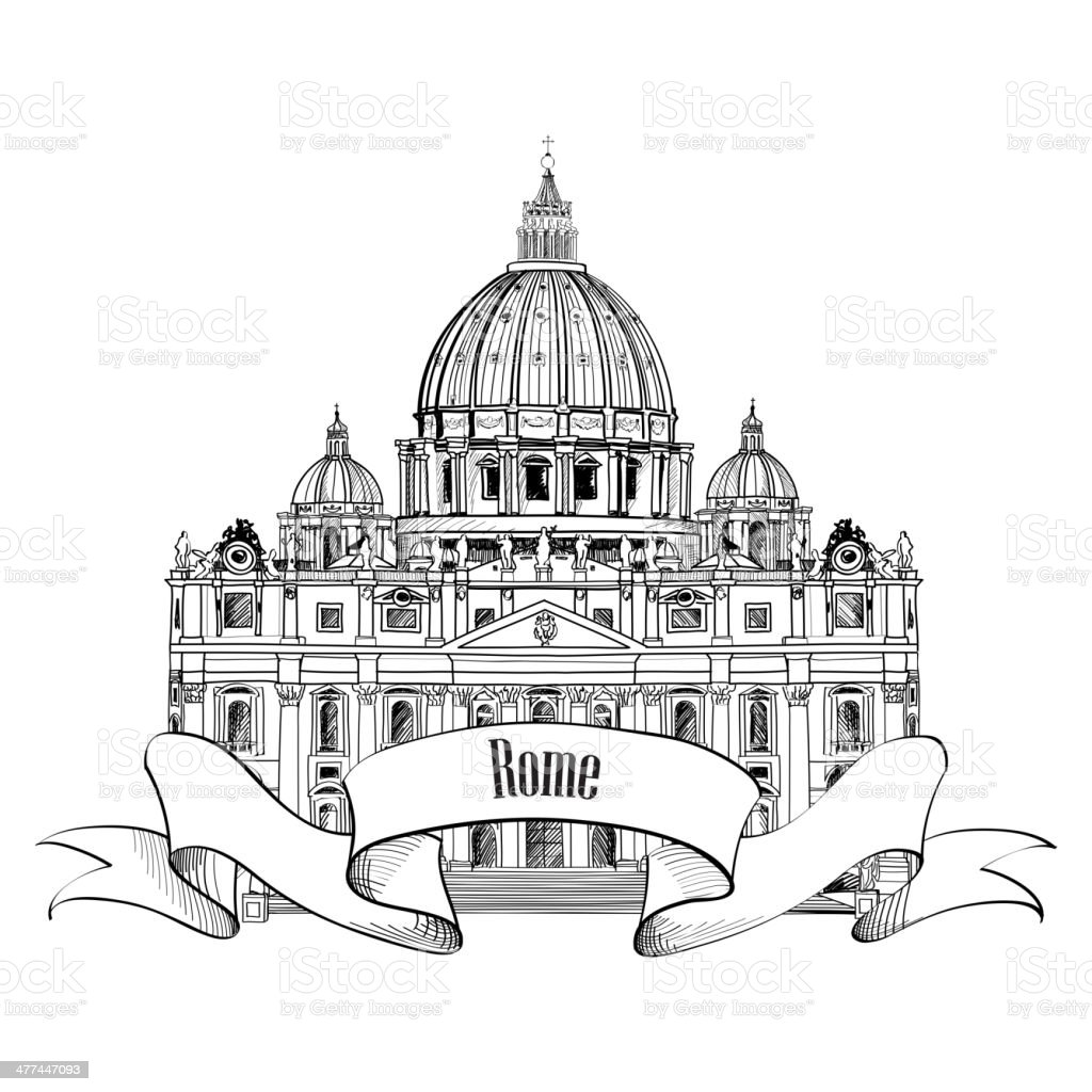 st peterkathedrale in rom italien rom wahrzeichen symbol isoliert vektor illustration 477447093. Black Bedroom Furniture Sets. Home Design Ideas