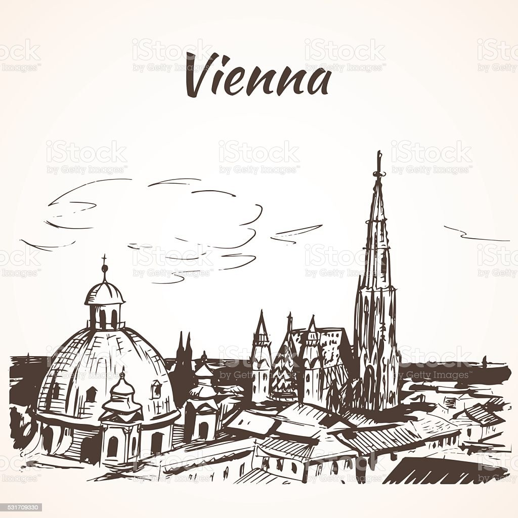 St. Stephen's Cathedral, Vienna vector art illustration