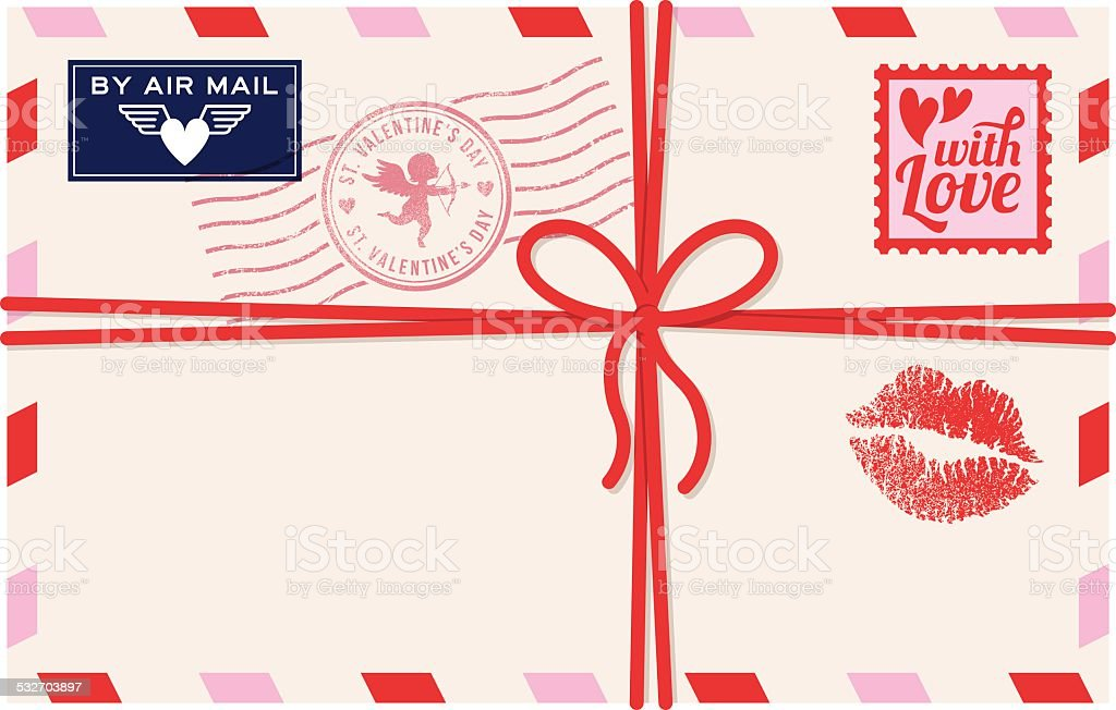 St. Valentine's Day - air mail love letter vector art illustration