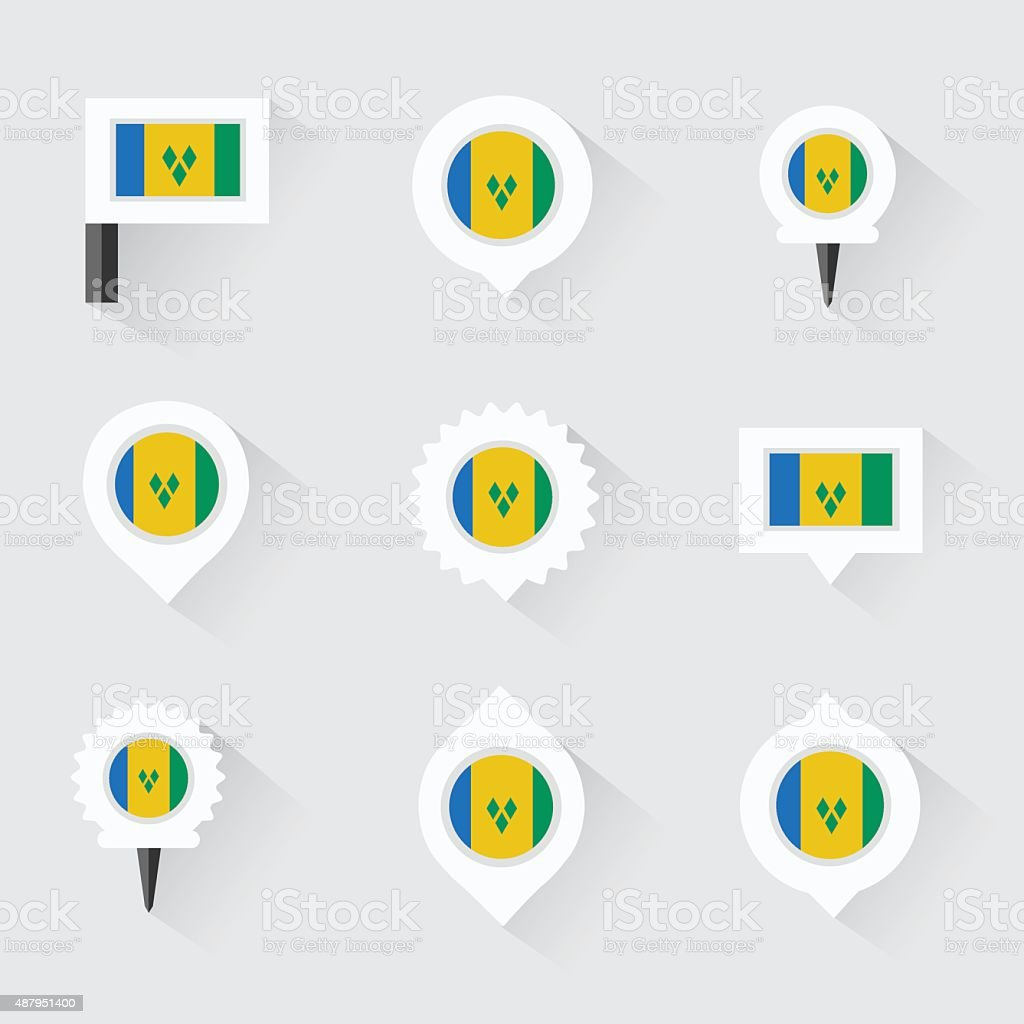 st vincent & the grenadines flag and pins for infographic, vector art illustration
