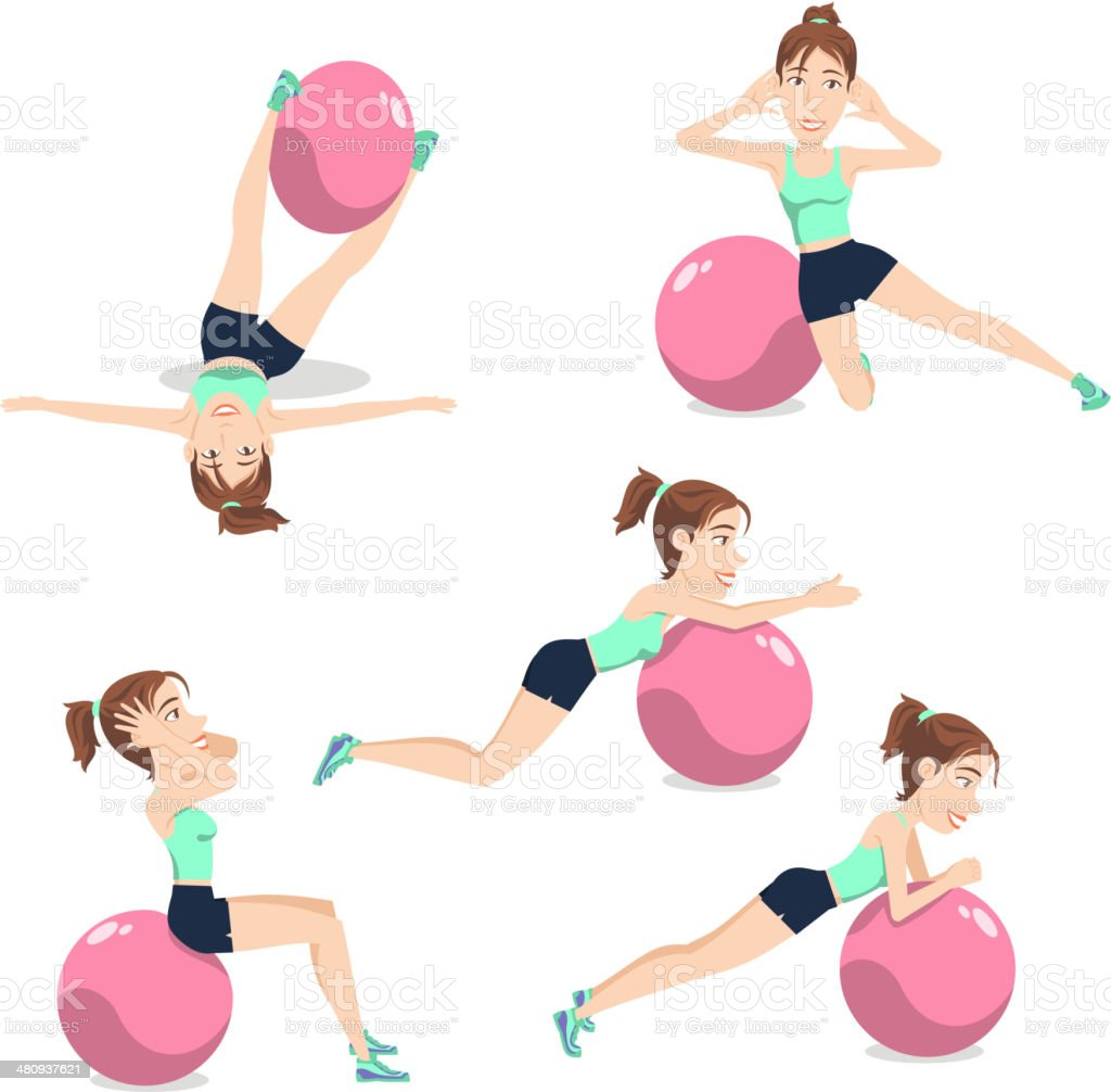 Stability Ball Exercise Weight Training Swiss Balance Fitness Gym royalty-free stock vector art