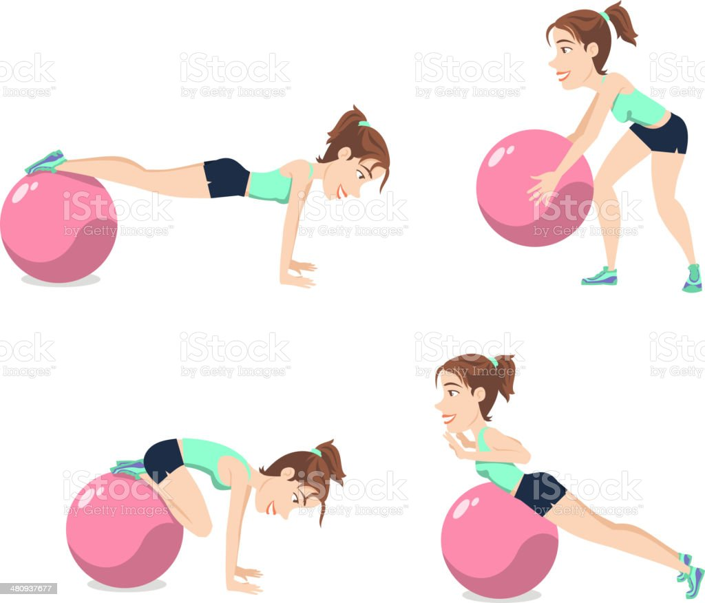Stability Ball Exercise Weight Training Swiss Balance Fitness Gym Pilates royalty-free stock vector art