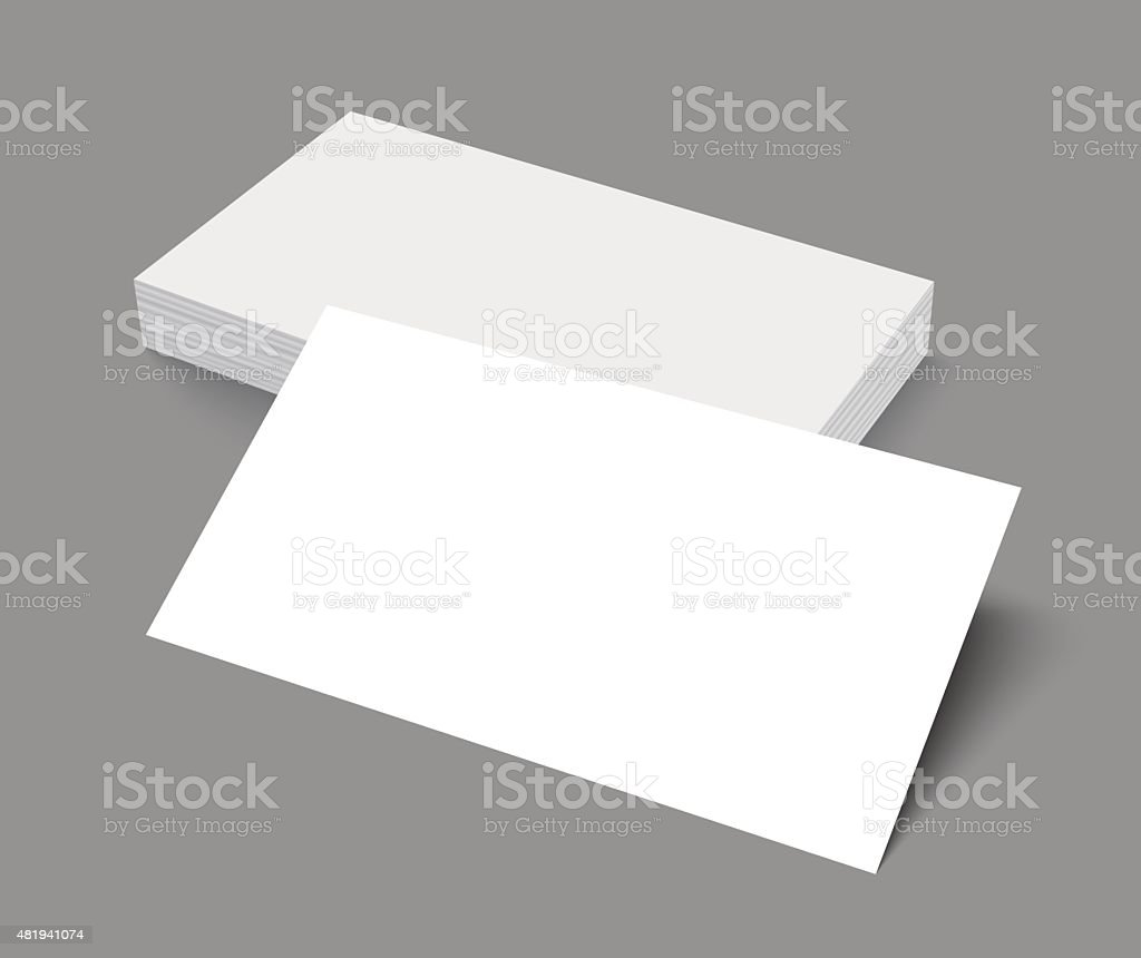 Stack of blank business card on gray background with shadows vector art illustration