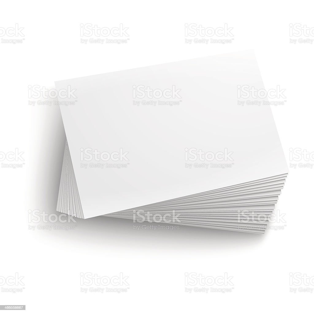 Stack of blank business cards on white background vector art illustration