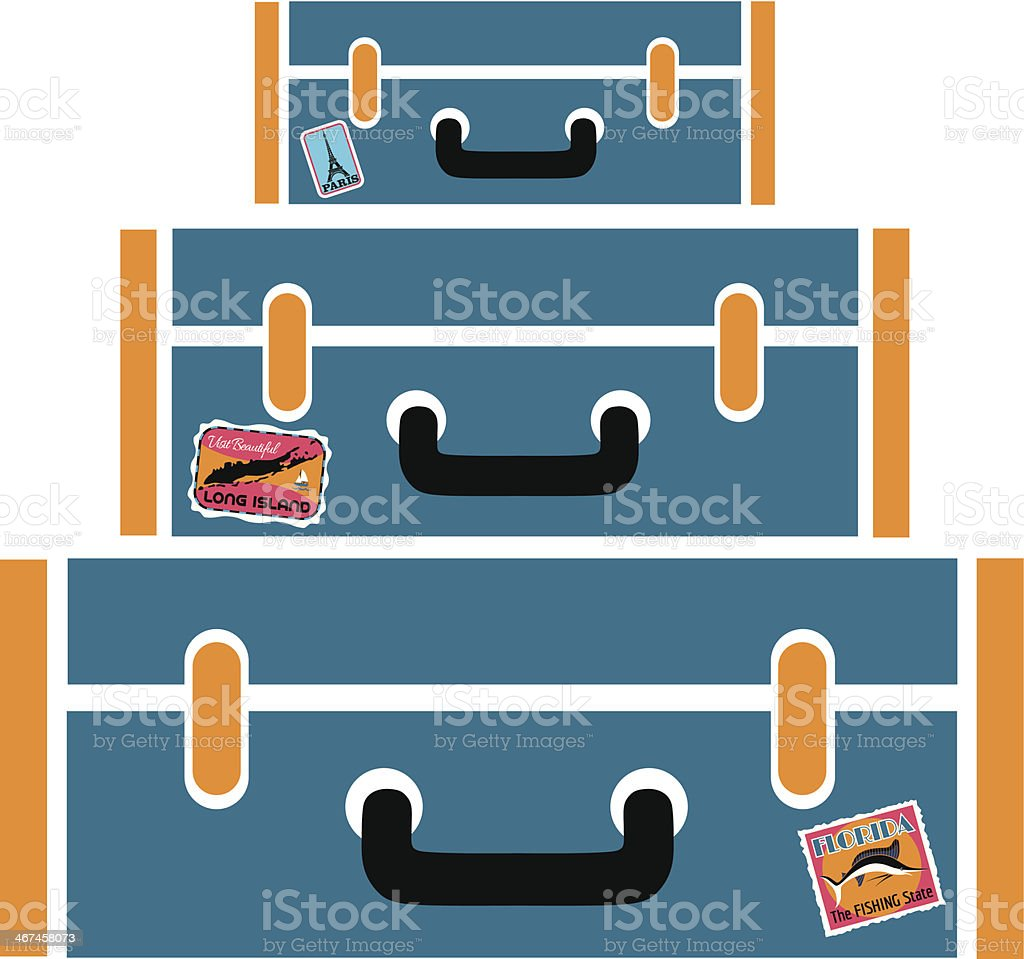 stack of blue suitcases vector art illustration
