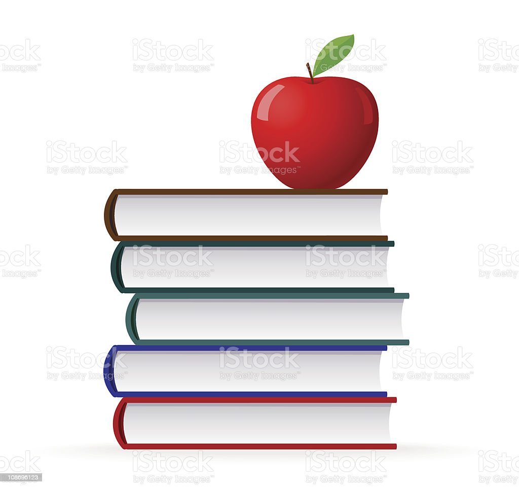 Stack of Book and Red Apple vector art illustration