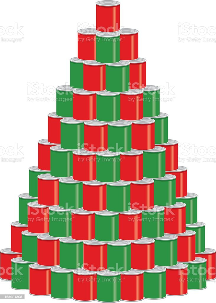 Stack of Canned Food as a Christmas Tree vector art illustration