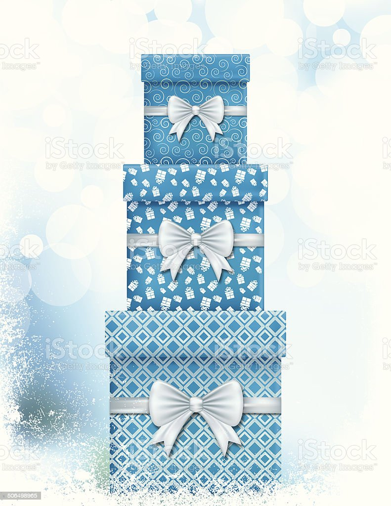 Stack of Christmas Gifts and Evergreens In Blue royalty-free stock vector art