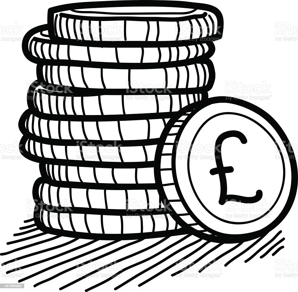 Stack of Coins Doodle (Pound Sterling) vector art illustration