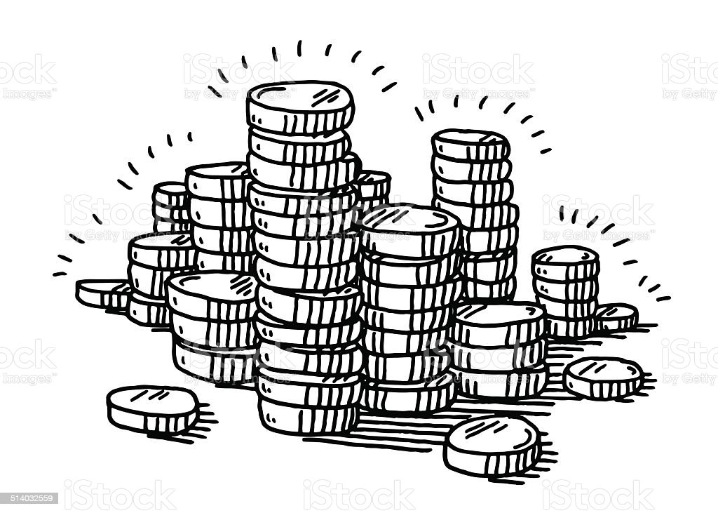 Stack Of Coins Money Drawing vector art illustration