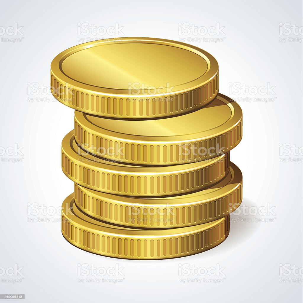 Stack of coins, money vector art illustration