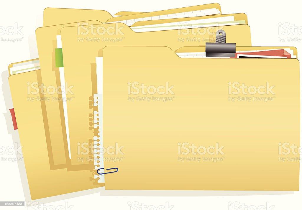 Stack of document folders vector art illustration