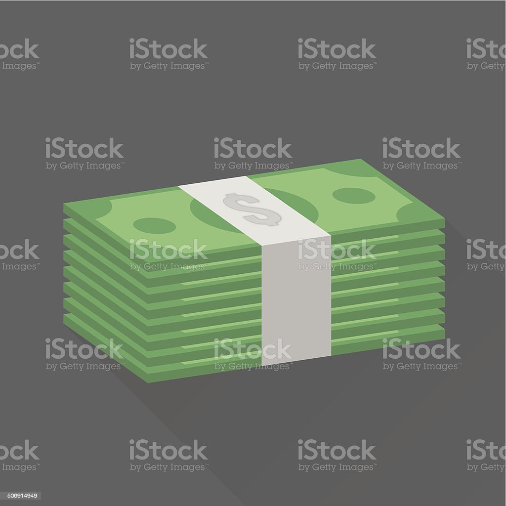 stack of dollar cash vector art illustration