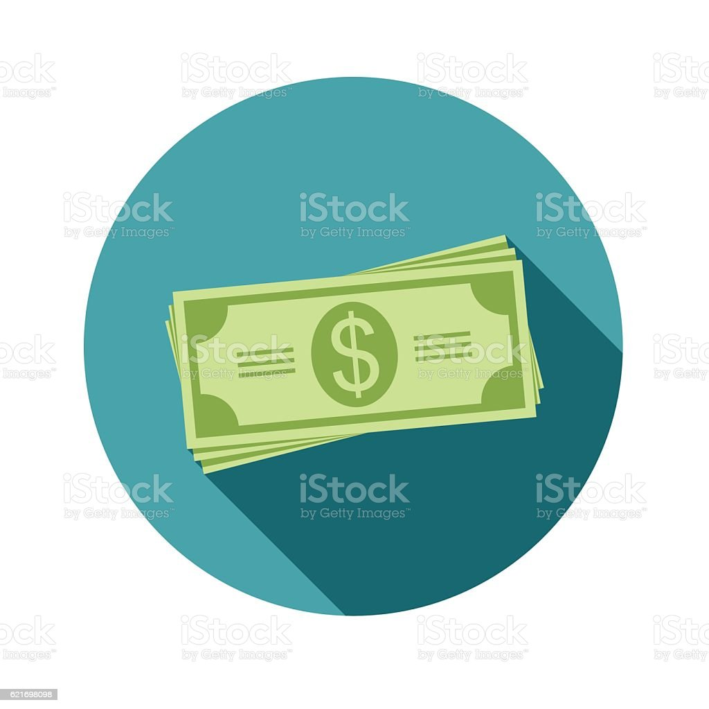 Stack of dollars. Paper bills or money. Icon in a vector art illustration