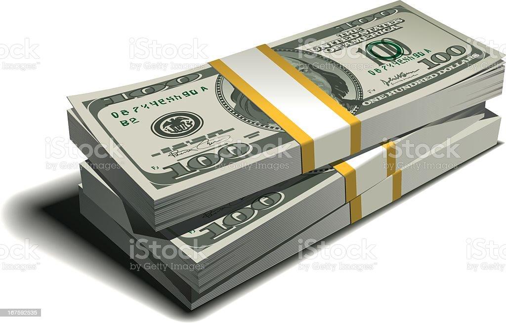 stack of dollars vector art illustration