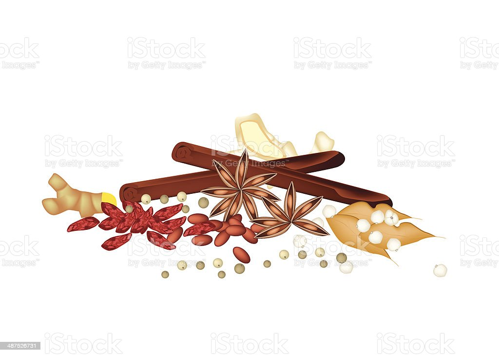 Stack of Dried Spices on White Background royalty-free stock vector art