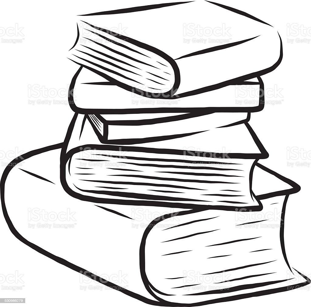 stack of five books vector art illustration