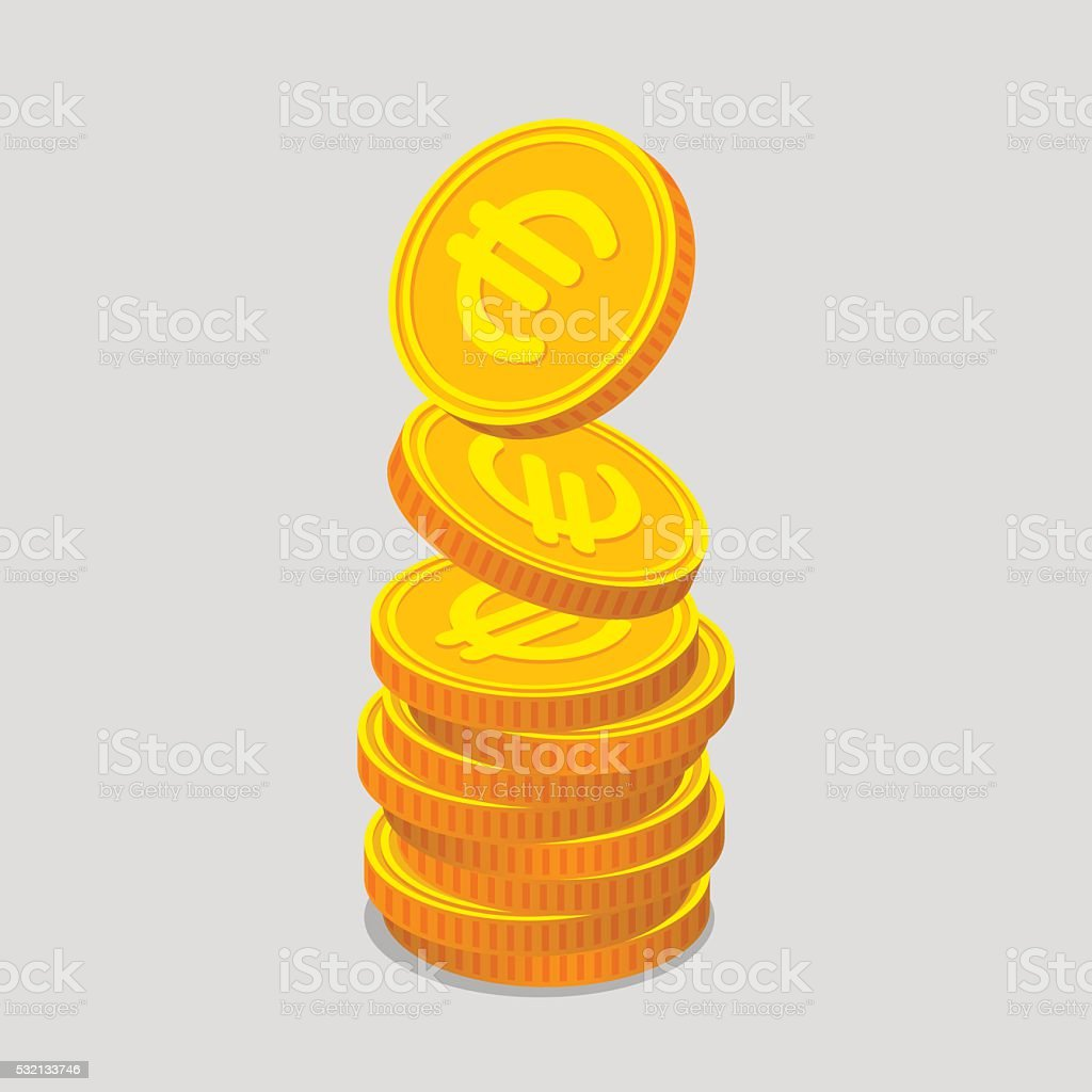 Stack of gold coins with euro signs vector art illustration