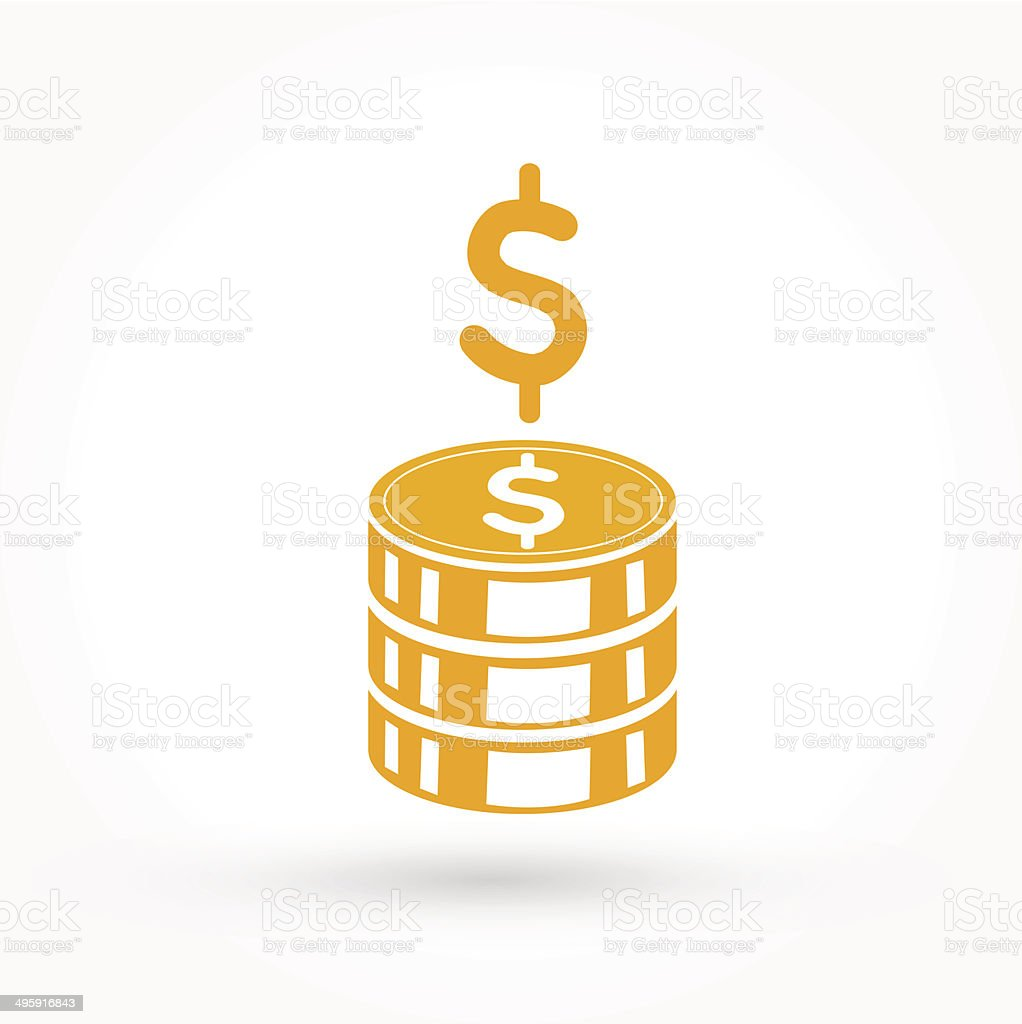Stack of golden coins icon vector art illustration