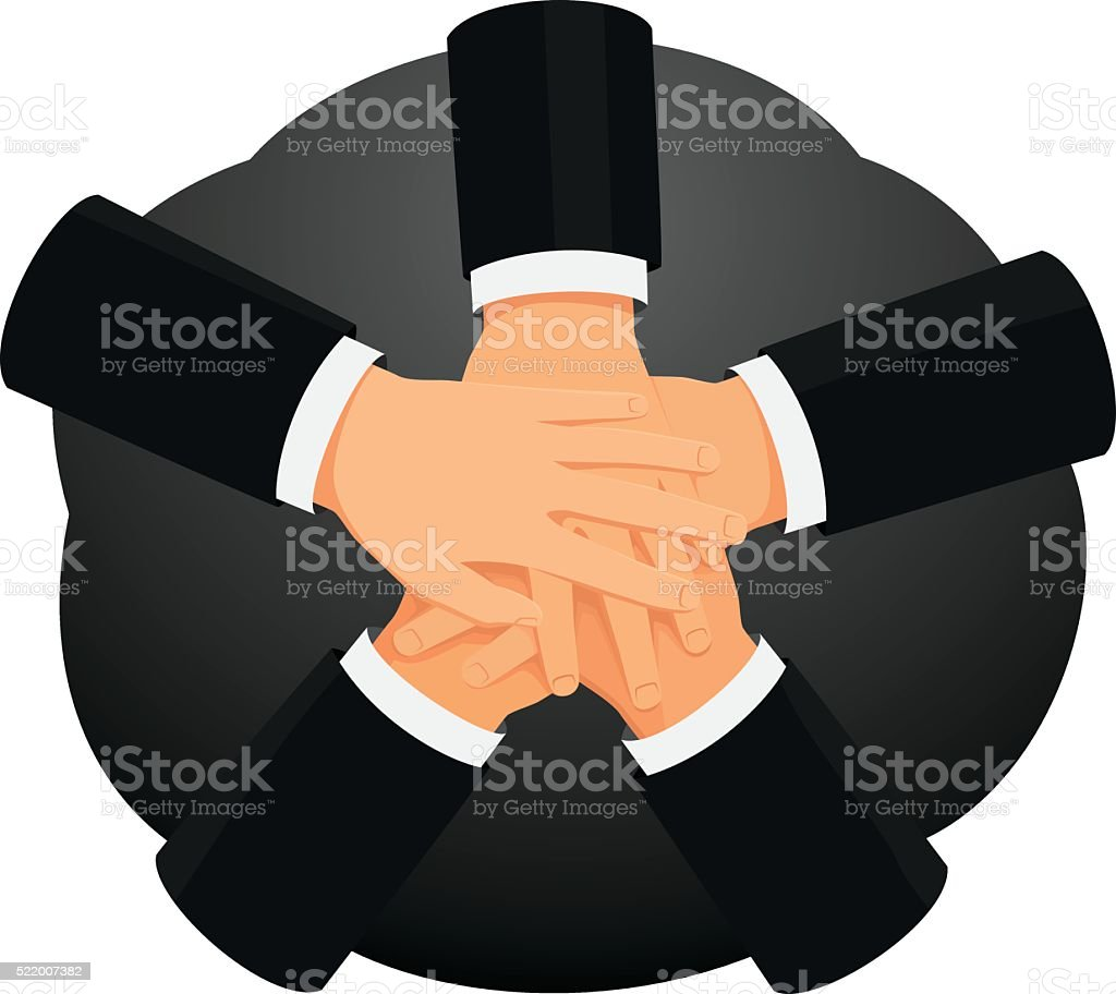 Stack of hands vector art illustration