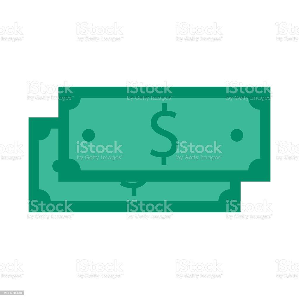 Stack of hundred dollars isolated on white vector art illustration