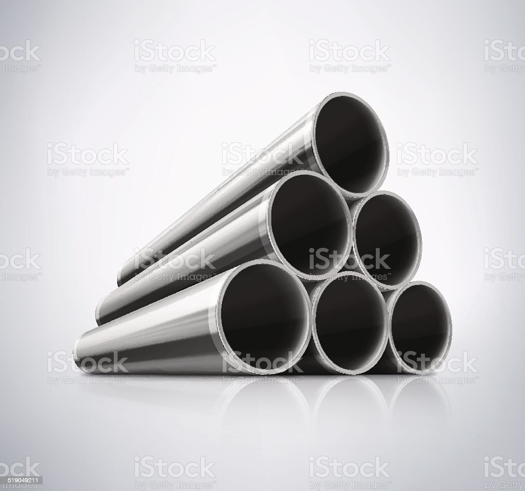 Stack of Metal Pipes vector art illustration