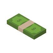 Stack of money isometric. tutu of dollars on white background.