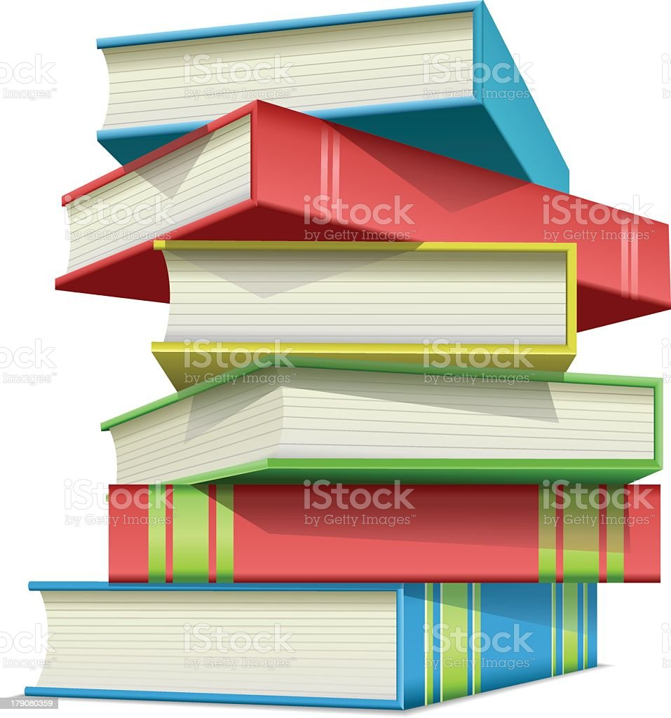 Stack of multi colored books royalty-free stock vector art