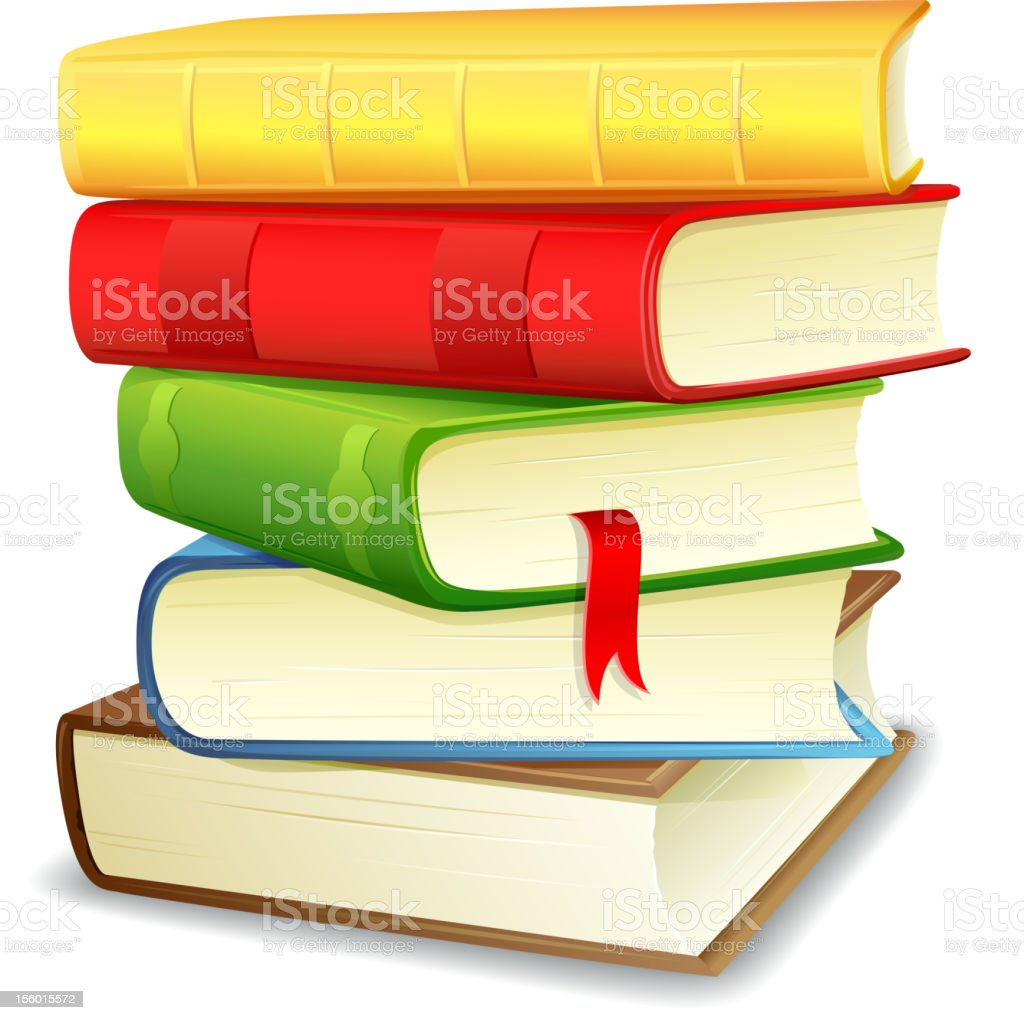 Stack of multicolored textbooks vector art illustration