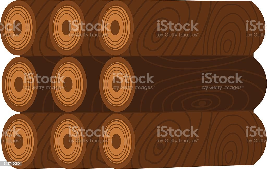 Stack of nine wooden logs firewood lumber tree cut flat vector art illustration