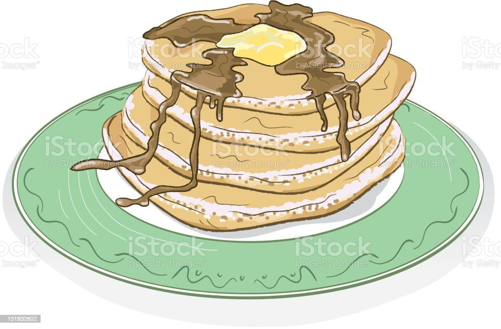 Stack of pancakes with syrup and butter on a plate vector art illustration