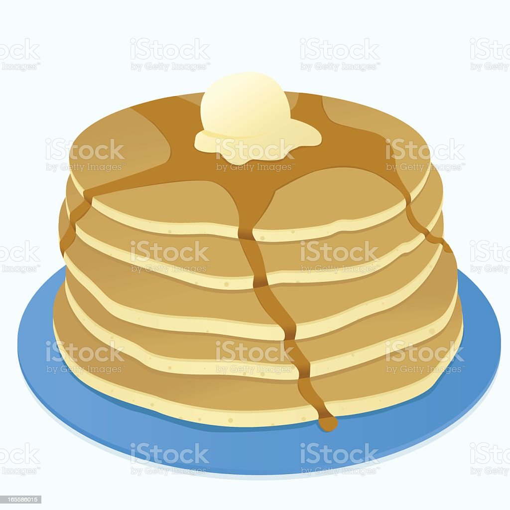 Stack of pancakes with syrup and butter royalty-free stock vector art