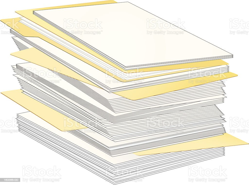 Stack of Paper and Folders royalty-free stock vector art
