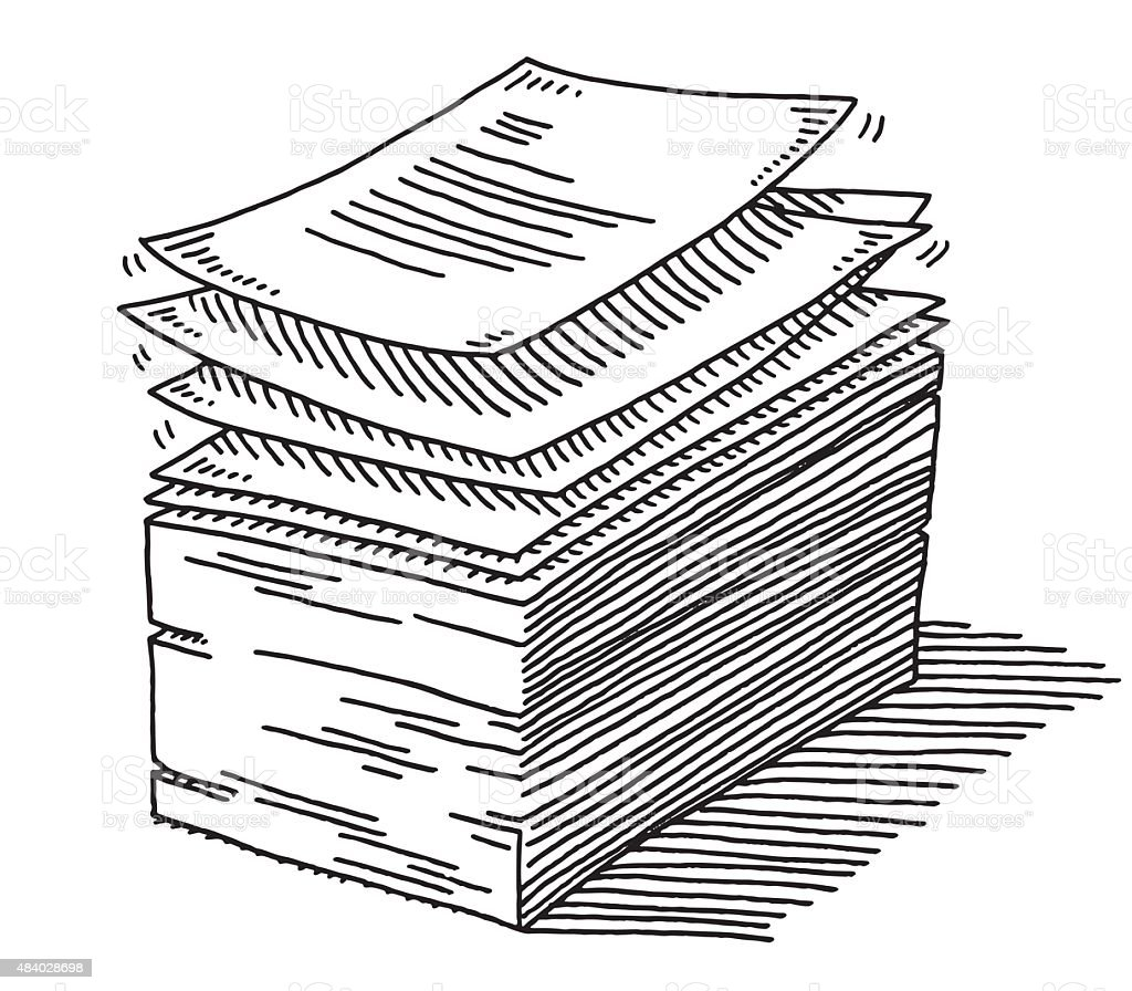 Stack Of Paper Documents Drawing vector art illustration