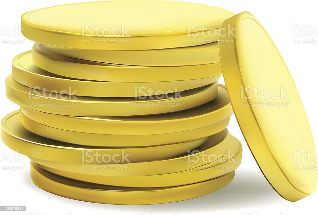 Stack of plain gold coins on white background royalty-free stock vector art