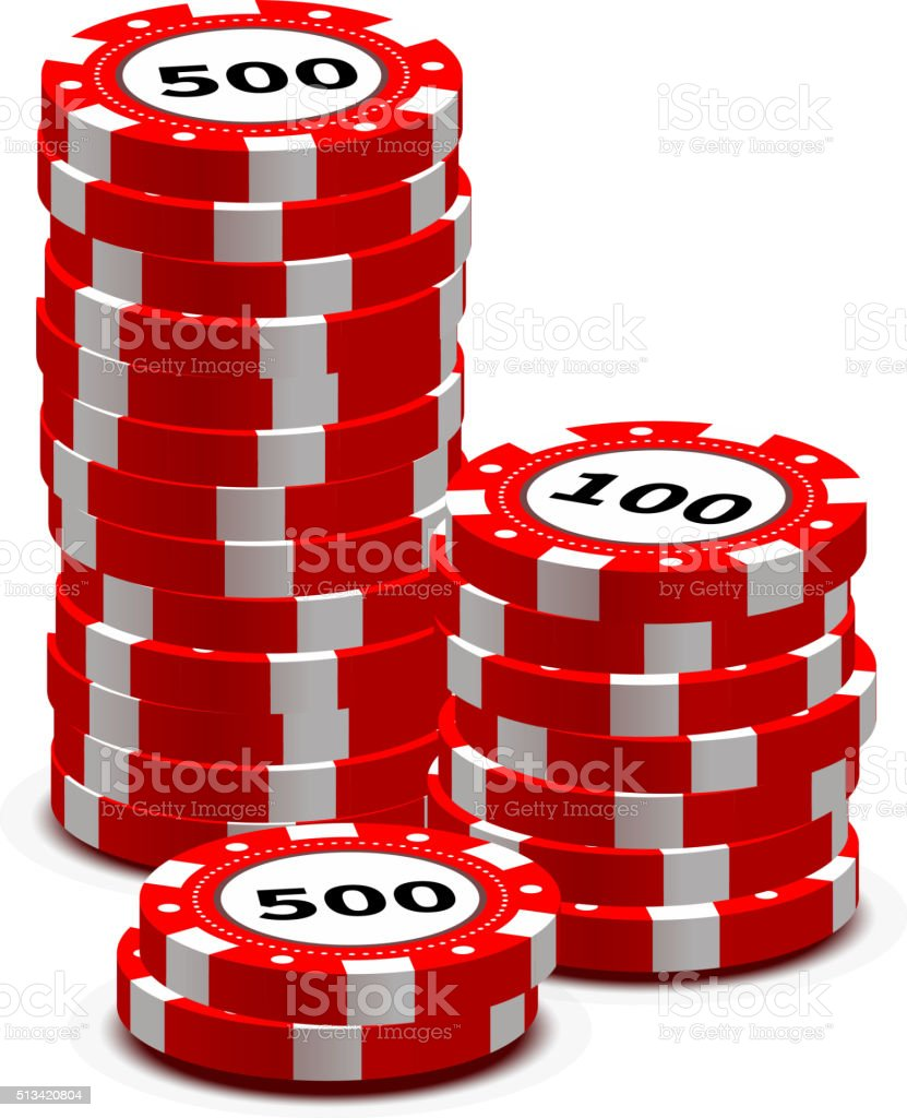 Stack of red gambling chips on white vector art illustration