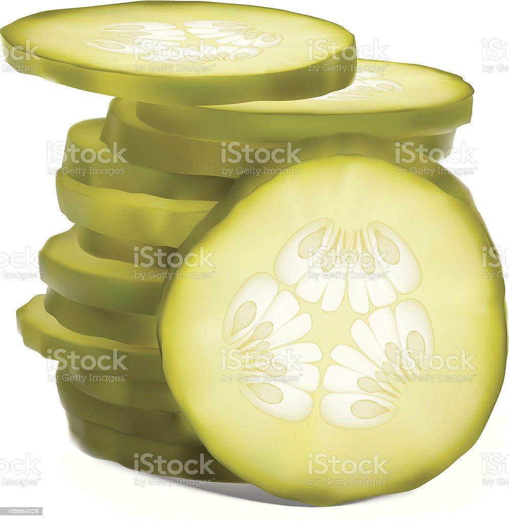 Stack Of Sliced Pickles vector art illustration