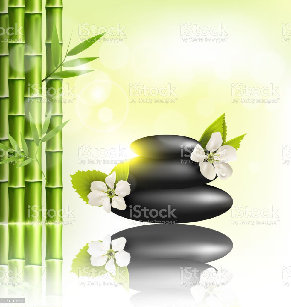 Stack of spa stones with cherry white flowers and bamboo vector art illustration