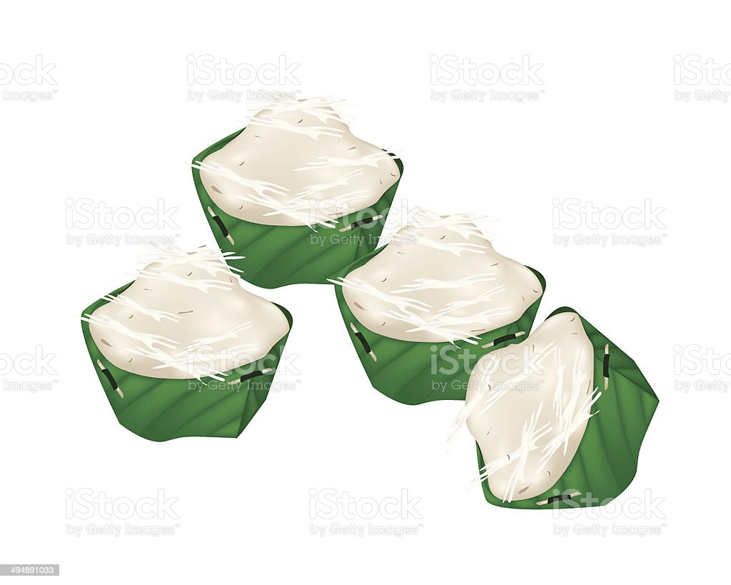 Stack of Thai  Jelly in Counts Banana Leaf royalty-free stock vector art