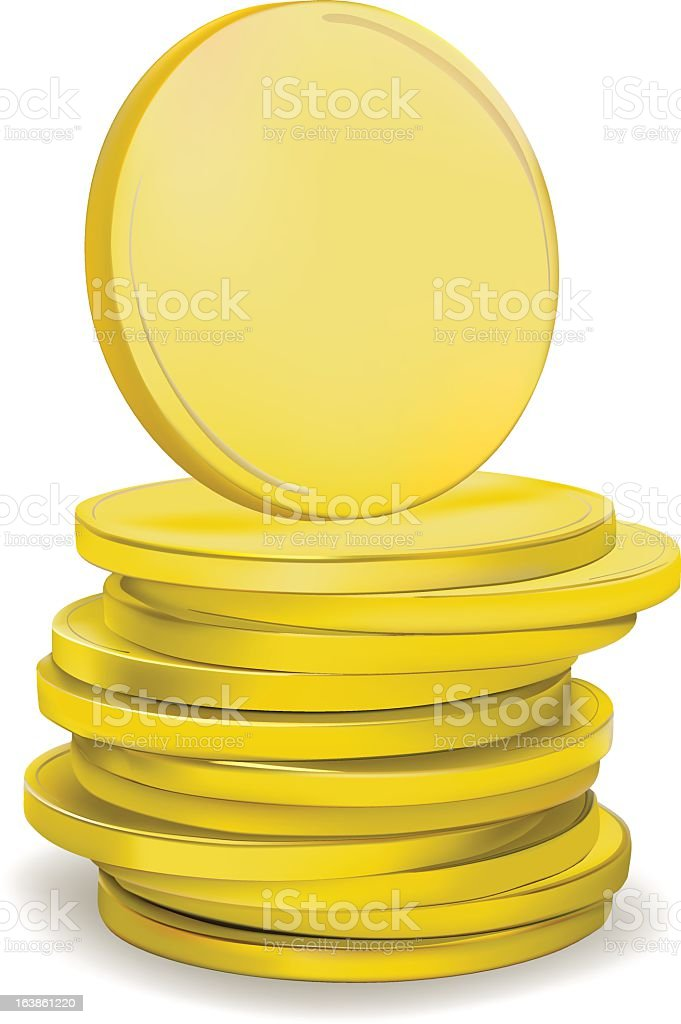 Stack of unmarked, gold coins on a white background vector art illustration
