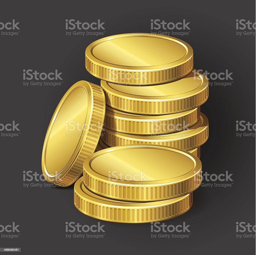 Stack of vector coins vector art illustration
