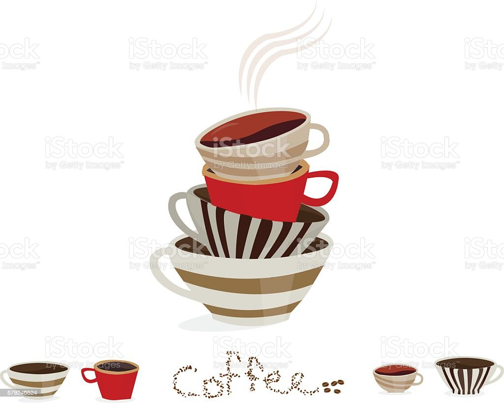 Stack of vintage colorful coffee cups on a white background vector art illustration