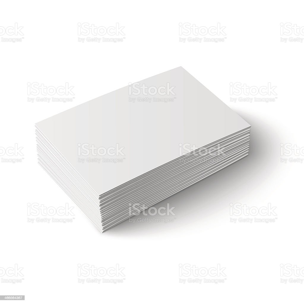 A stack of white blank business cards vector art illustration
